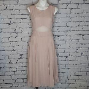 ASOS Sheer & Solid Pleated Midi Dress